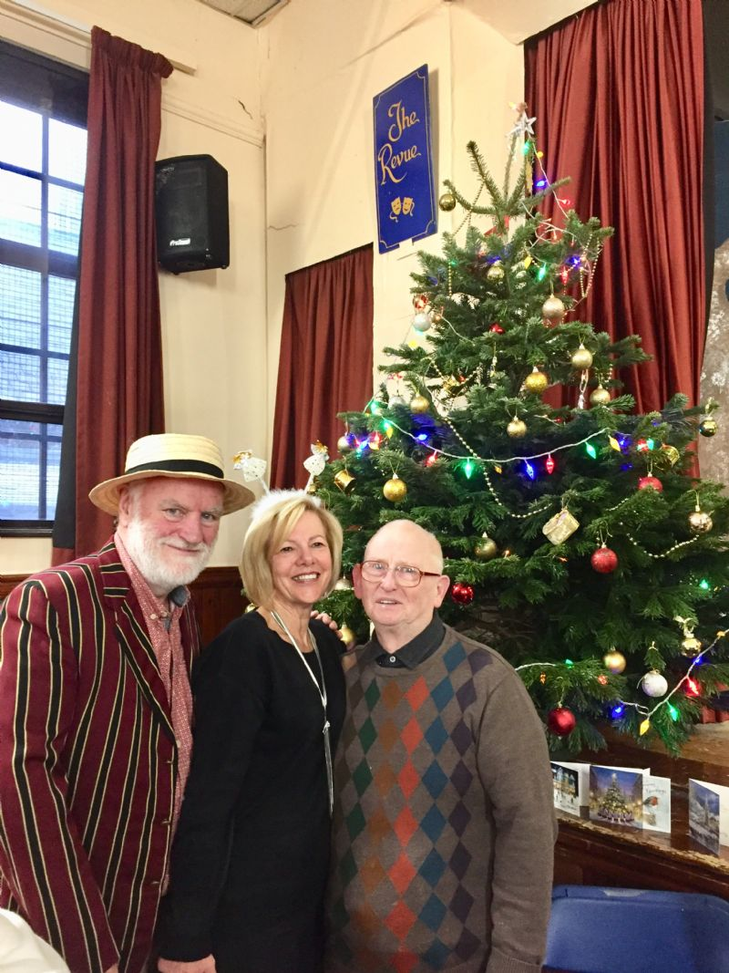 Left to right: Compère Philip Smith, Organiser Tricia Canning and Guest Ray Atherton Of Brinnington