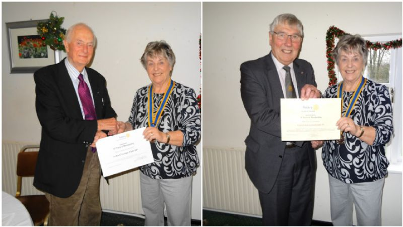 John Coupe (left photo) and Colin Wilkinson (Right Photo) receiving their awards from President Gwyneth